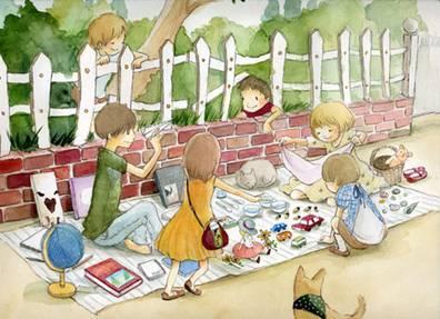 Eriko Kurita、Eriko Kurita、野餐、插画、童年